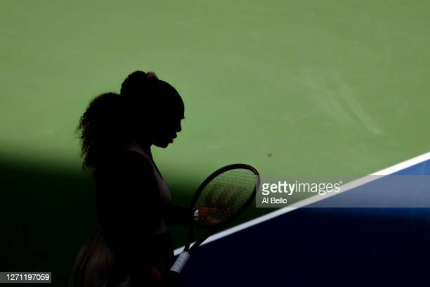 Serena Williams of the United States prepares to play during her Women's Singles fourth round match against Maria Sakkari of Greece on Day Eight of...