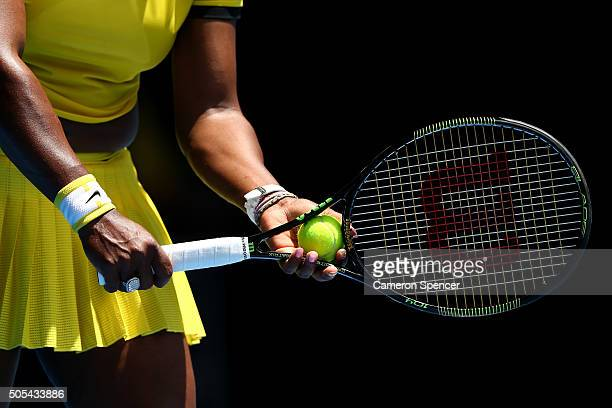 Serena Williams of the United States prepares to serve in her first round match against Camila Giorgi of Italy during day one of the 2016 Australian...