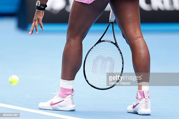 Serena Williams of the United States prepares to serve in her fourth round match against Ana Ivanovic of Serbia during day seven of the 2014...
