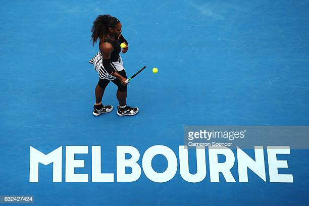 Serena Williams of the United States prepares to serve in her fourth round match against Barbora Strycova of the Czech Republic on day eight of the...