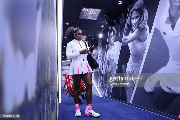Serena Williams of the United States prepares to walk on court prior to her match against Johanna Larsson of Sweden in the third round Women's...