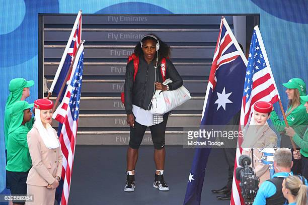 Serena Williams of the United States prepares to walk out onto court ahead of her Women's Singles Final match against Venus Williams of the United...