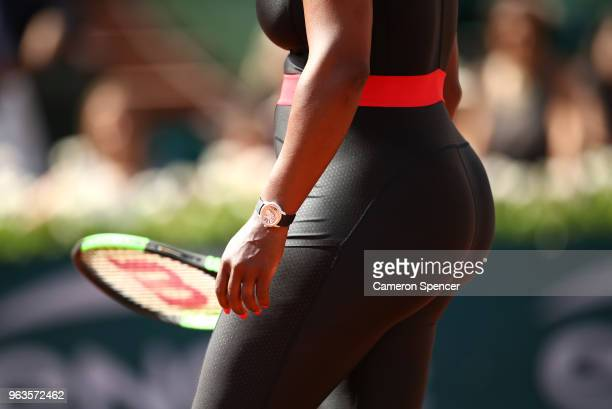 Serena Williams of The United States prior to her ladies singles first round match against Kristyna Pliskova of Czech Republic during day three of...