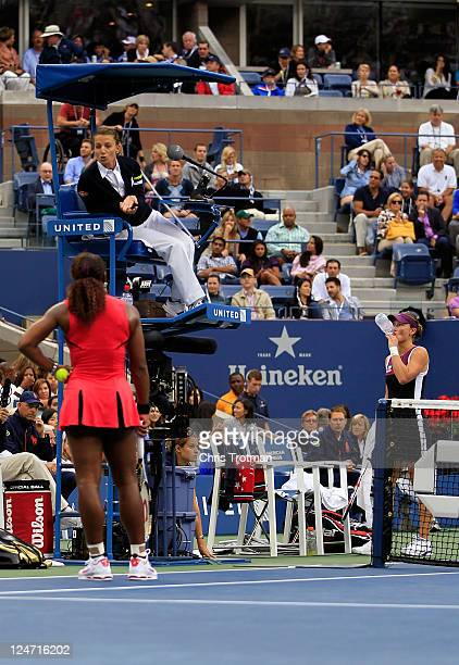 Serena Williams of the United States questions the call of chair umpire Eva Asderakia while playing against Samantha Stosur of Australia during the...