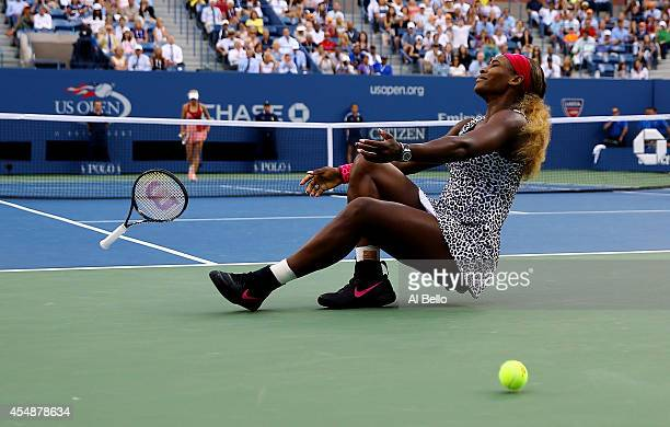 Serena Williams of the United States reacts after defeating Caroline Wozniacki of Denmark to win their women's singles final match on Day fourteen of...