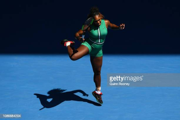 Serena Williams of the United States reacts after playing a shot in her quarter final match against Karolina Pliskova of Czech Republic during day 10...