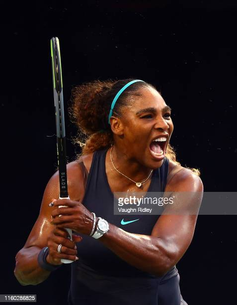 Serena Williams of the United States reacts after winning a point against Elise Mertens of Belgium during a second round match on Day 5 of the Rogers...