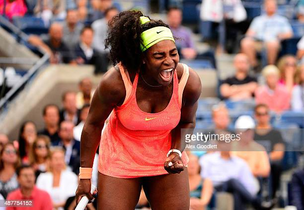 Serena Williams of the United States reacts against Roberta Vinci of Italy during their Women's Singles Semifinals match on Day Twelve of the 2015 US...