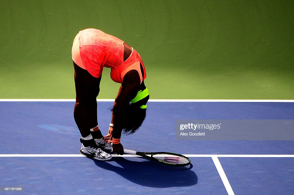 Serena Williams of the United States reacts against Roberta Vinci of Italy during their Women's Singles Semifinals match on Day Twelve of the 2015 US Open at the USTA Billie Jean King National Tennis Center on September 11, 2015 in the Flushing neighborhood of the Queens borough of New York City.