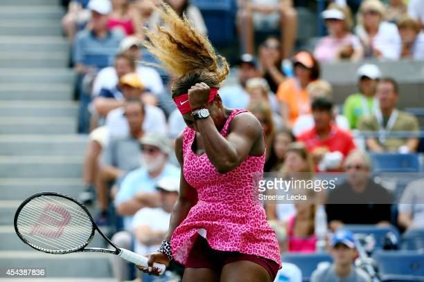 Serena Williams of the United States reacts against Varvara Lepchenko of the United States during their women's singles third round match on Day Six...