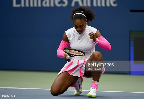Serena Williams of the United States reacts against Yaroslava Shvedova of Kazakhstan during her fourth round Women's Singles match on Day Eight of...