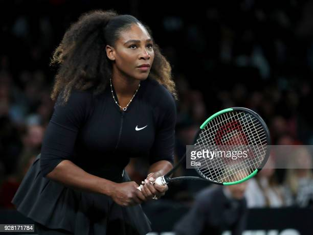 Serena Williams of the United States reacts duirng her match against Shuai Zhang of China during the Tie Break Tens at Madison Square Garden on March...