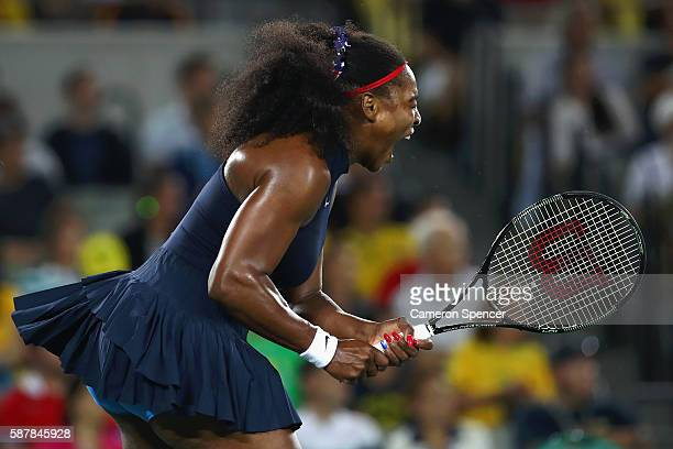 Serena Williams of the United States reacts during a Women's Singles Third Round match against Elina Svitolina of Ukraine on Day 4 of the Rio 2016...