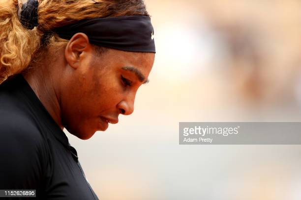 Serena Williams of The United States reacts during her ladies singles first round match against Kurumi Nara of Japan during Day five of the 2019...