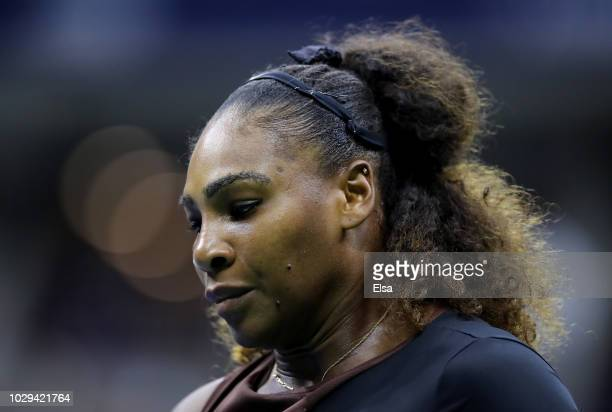 Serena Williams of the United States reacts during her Women's Singles finals match against Naomi Osaka of Japan on Day Thirteen of the 2018 US Open...
