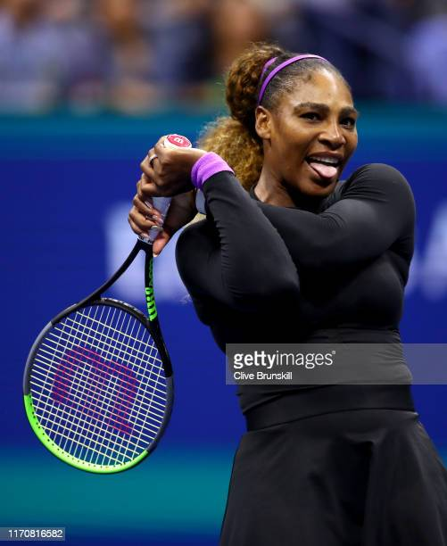 Serena Williams of the United States reacts during her Women's Singles second round match against Catherine McNally of the United States on day three...