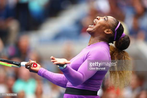 Serena Williams of the United States reacts during her Women's Singles final match against Bianca Andreescu of Canada on day thirteen of the 2019 US...