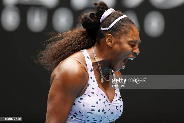 Serena Williams of the United States reacts during her Women's Singles third round match against Qiang Wang of China on day five of the 2020...