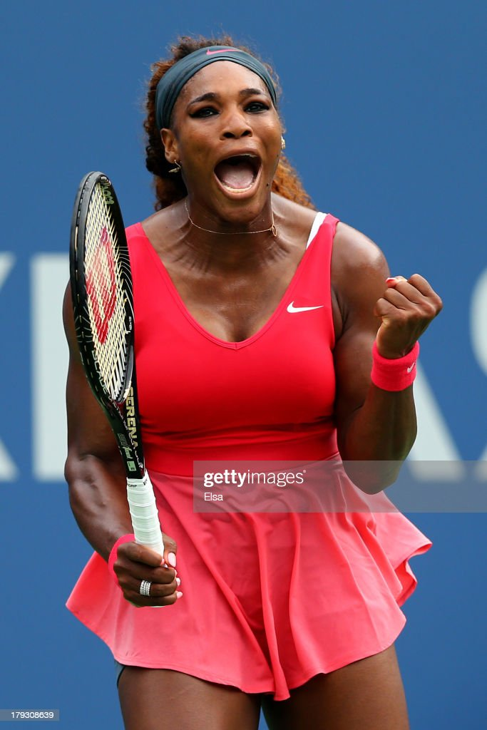 Serena Williams of the United States reacts during her women's singles fourth round match against Sloane Stephens of United States on Day Seven of the 2013 US Open at USTA Billie Jean King National Tennis Center on September 1, 2013 in the Flushing neighborhood of the Queens borough of New York City.