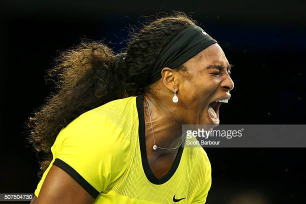 Serena Williams of the United States reacts during her Women's Singles Final match against Angelique Kerber of Germany during day 13 of the 2016...