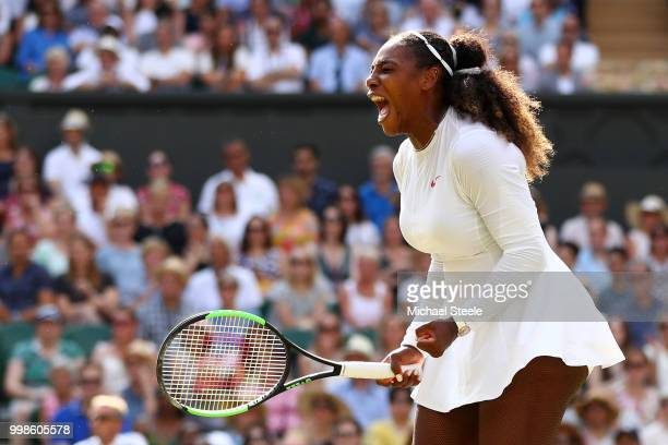 Serena Williams of The United States reacts during the Ladies' Singles final against Angelique Kerber of Germany on day twelve of the Wimbledon Lawn...