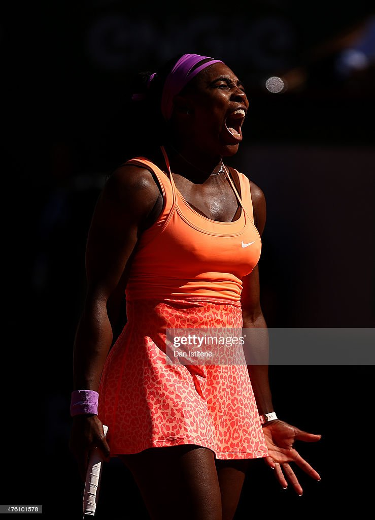 Serena Williams of the United States reacts during the Women's Singles Final against Lucie Safarova of Czech Repbulic on day fourteen of the 2015 French Open at Roland Garros on June 6, 2015 in Paris, France.