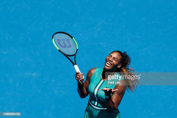 Serena Williams of the United States reacts her quarter final match against Karolina Pliskova of Czech Republic during day 10 of the 2019 Australian...