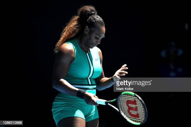 Serena Williams of the United States reacts in her quarter final match against Karolina Pliskova of Czech Republic during day 10 of the 2019...
