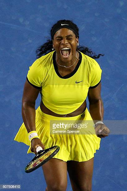 Serena Williams of the United States reacts in her Women's Singles Final match against Angelique Kerber of Germany during day 13 of the 2016...