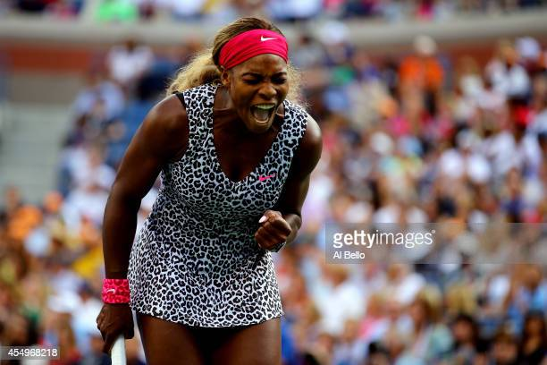 Serena Williams of the United States reacts in the second set against Caroline Wozniacki of Denmark during their women's singles final match on Day...