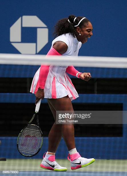 Serena Williams of the United States reacts to a point against Johanna Larsson of Sweden in their third round Women's Singles match on Day Six of the...