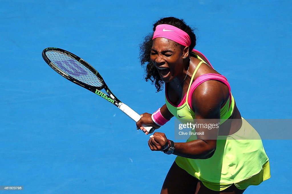Serena Williams of the United States reacts to a point in her second round match against Vera Zvonareva of Russia during day four of the 2015 Australian Open at Melbourne Park on January 22, 2015 in Melbourne, Australia.