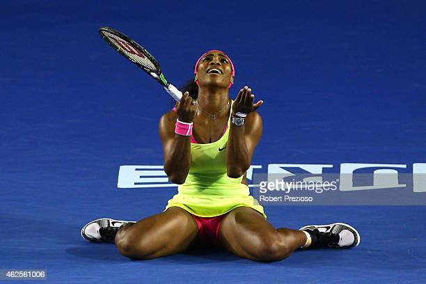 Serena Williams of the United States reacts to a point in her women's final match against Maria Sharapova of Russia during day 13 of the 2015...