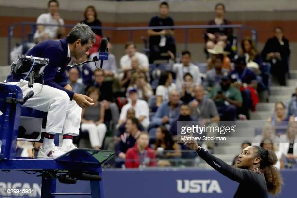 Serena Williams of the United States reacts to umpire Carlos Ramos after her defeat in the Women's Singles finals match to Naomi Osaka of Japan on...