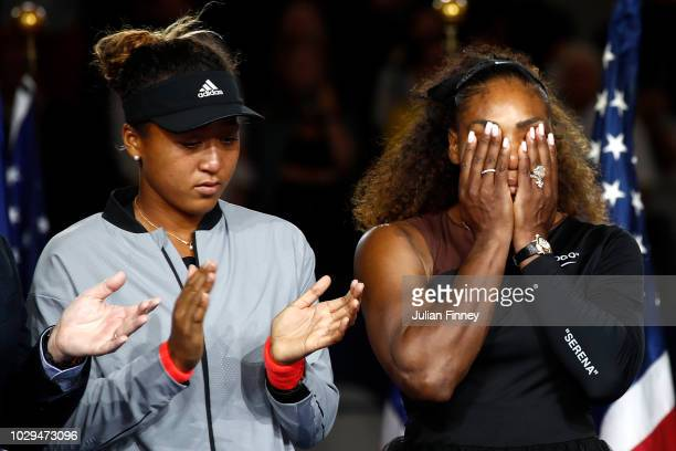 Serena Williams of the United States reacts while being interviewed after her defeat in the Women's Singles finals match to Naomi Osaka of Japan on...