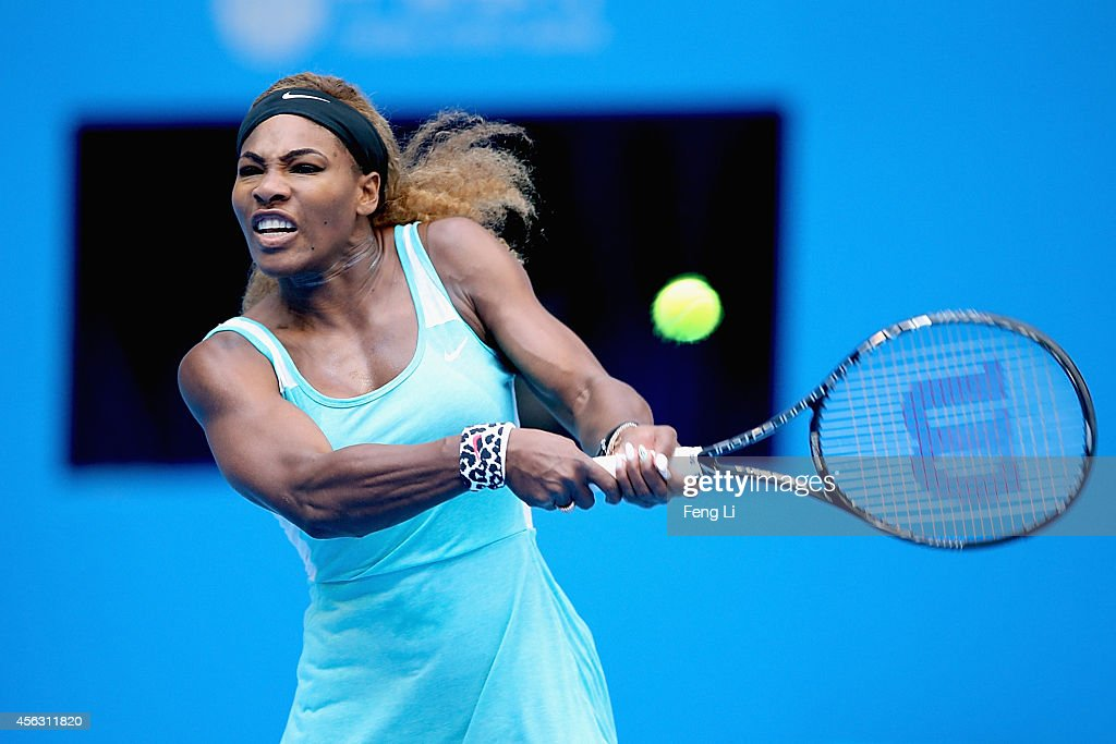 Serena Williams of the United States returns a shot against Silvia Soler-Espinosa of Spain during day three of the China Open at the China National Tennis Center on September 29, 2014 in Beijing, China.