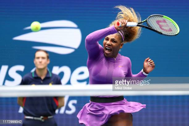 Serena Williams of the United States returns a shot during her Women's Singles final match against Bianca Andreescu of Canada on day thirteen of the...