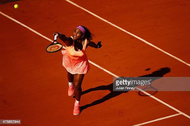 Serena Williams of the United States returns a shot during her Women's Semi final match against Timea Bacsinszky of Switzerland on day twelve of the...