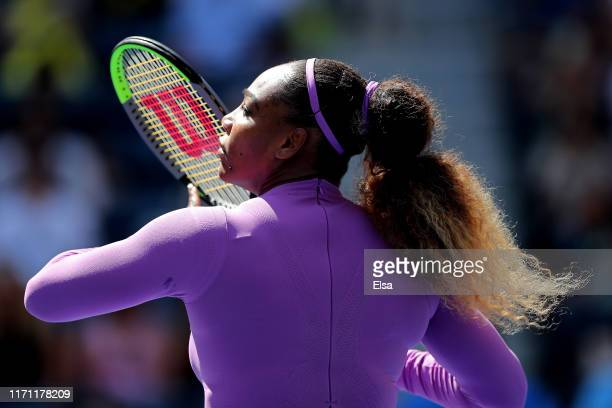 Serena Williams of the United States returns a shot during of her Women's Singles round three match against Karolina Muchova of the Czech Republic on...