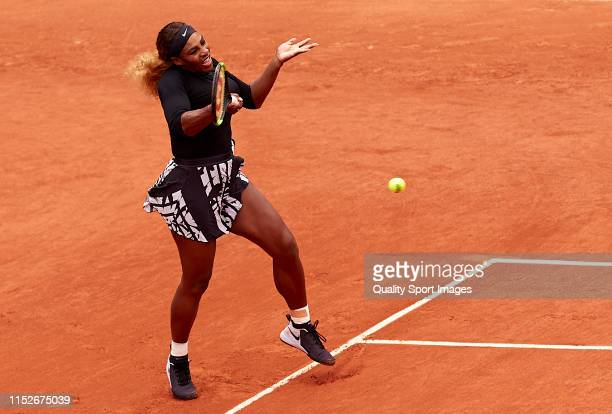 Serena Williams of The United States returns a shot in her ladies singles second round match against Kurumi Nara of Japan during Day five of the 2019...