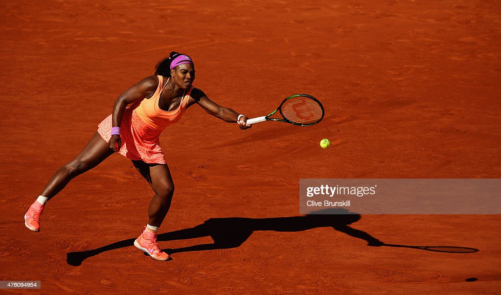 Serena Williams of the United States returns a shot in the Women's Singles Final against Lucie Safarova of Czech Repbulic on day fourteen of the 2015 French Open at Roland Garros on June 6, 2015 in Paris, France.