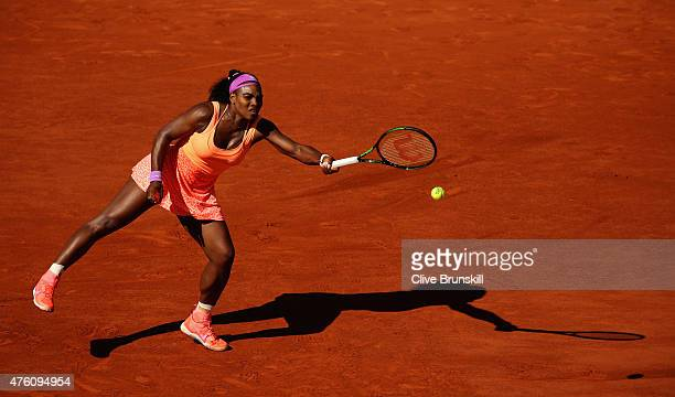Serena Williams of the United States returns a shot in the Women's Singles Final against Lucie Safarova of Czech Repbulic on day fourteen of the 2015...