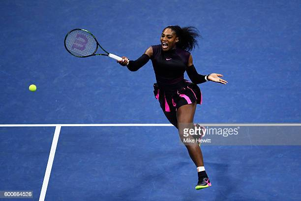 Serena Williams of the United States returns a shot to Karolina Pliskova of the Czech Republic during her Women's Singles Semifinal Match on Day...