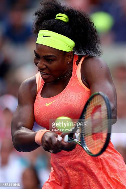 Serena Williams of the United States returns a shot to Madison Keys of the United States during their Women's Singles Fourth Round match on Day Seven...
