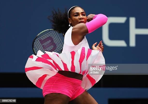Serena Williams of the United States returns a shot to Yaroslava Shvedova of Kazakhstan during her fourth round Women's Singles match on Day Eight of...