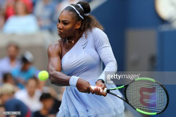 Serena Williams of The United States returns the ball during her women's singles fourth round match against Kaia Kanepi of Estonia on Day Seven of...
