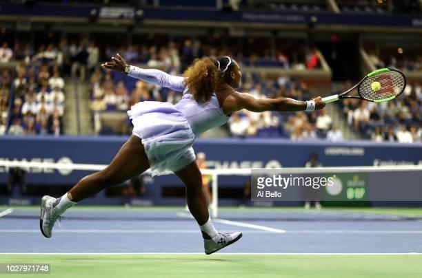 Serena Williams of the United States returns the ball during her women's singles semifinal match against Anastasija Sevastova of Latvia on Day Eleven...