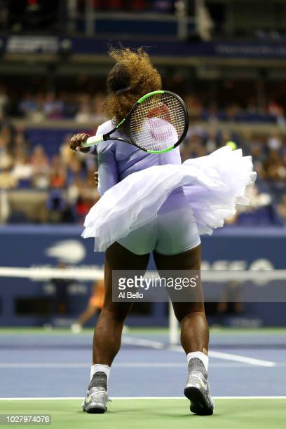 Serena Williams of the United States returns the ball during her women s  singles semifinal match against 3f8073a67026