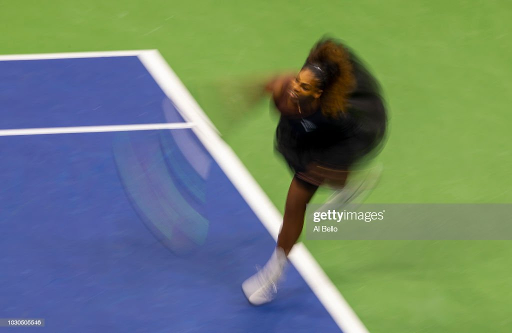 Serena Williams of the United States returns the ball during her Women's Singles finals match against Naomi Osaka of Japan on Day Thirteen of the 2018 US Open at the USTA Billie Jean King National Tennis Center on September 8, 2018 in the Flushing neighborhood of the Queens borough of New York City.