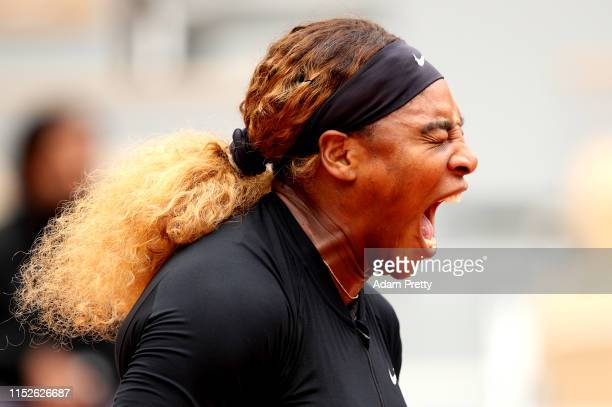 Serena Williams of The United States screams during her ladies singles first round match against Kurumi Nara of Japan during Day five of the 2019...